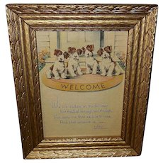Vintage Welcome Print with Four Puppy Dogs