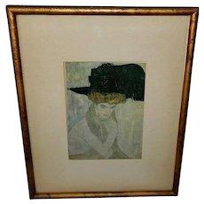 Gustav Klimt Vintage Print of Black Feather Hat
