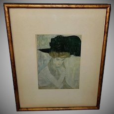 Gustav Klimt Vintage Print of Black Feather Hat