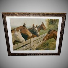 R. Atkinson Fox Vintage Print of Thoroughbred Horses