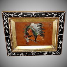 Small Indian Chief Painting in Eastlake Frame