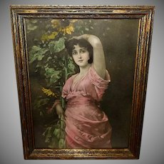 Nathaniel Sichel Vintage Print Lovely Lady With Sunflowers