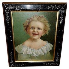 Chromolithograph of Happy Blonde Girl Unframed