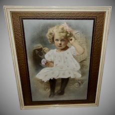 Vintage Dementi Studio Tinted Photo Print of Young Blonde Girl