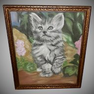 Signed Chalk Pastel Drawing of Gray Kitten