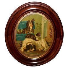 Chromolithograph of Two Dogs and Cat Oval Frame