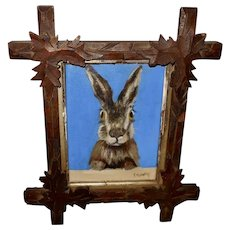 Folk Art Painting of Bunny Rabbit in Criss Cross Frame
