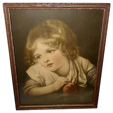 Vintage Print of Child with Apple by Jean Baptiste Greuze