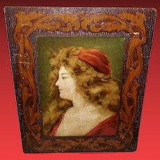 Flemish Art Pyrography with Art Nouveau Style Lady