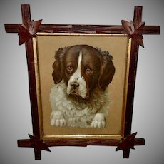 Embossed Chromolithograph Die Cut of Saint Bernard Dog