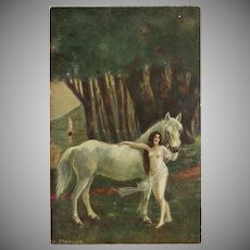 W. Stanke German Postcard of Lady with White Horse