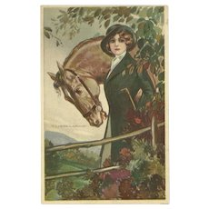 T. Corbella Vintage Postcard of Woman with Horse