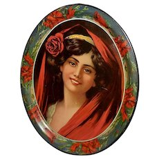 Large Lithograph Tray No. 16 of Dark Haired Woman