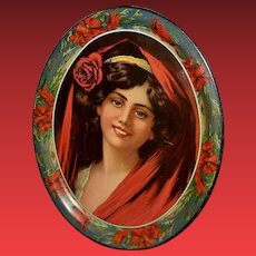 Large Lithograph Tin Tray No. 16 of Dark Haired Woman