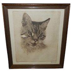 Vintage Print of Peake the Chesapeake and Ohio Cat