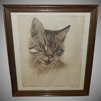 Vintage Print of Peake the Chesapeake and Ohio Cat