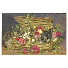Daniel Merlin Vintage Postcard of Basketful of Cats