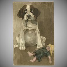 Vintage Gravure Postcard of Dog with Torn Doll