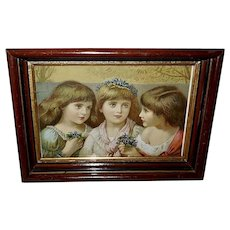Chromolithograph of Three Girls with Violets