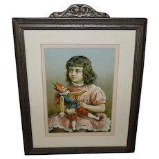 Chromolithograph of Young Girl with Jester Doll