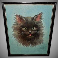 Vintage Textured Print of Black Cat by Florence Kroger