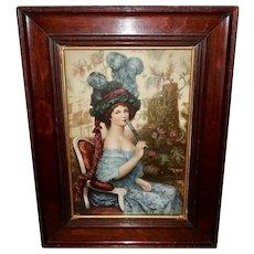 Vintage Lady with Fan by Jules Abel Faivre