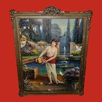 Whitroy Vintage Print of Lady in Fantasy Garden Barbola Frame