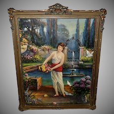 Whitroy Vintage Print of Lady in Fantasy Garden Barbola Frame