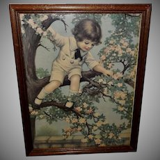 Vintage Print Child and Bird Nest by Henry Wireman