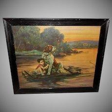 Vintage Adams Print Boy on Raft with Saint Bernard Dog