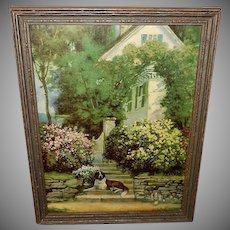 Vintage Print of Saint Bernard Dog Guarding Home