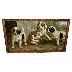 Vintage Print of Three Puppies at Play