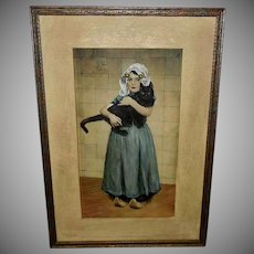 Paul Hoecker Vintage Tinted Print of Girl with Black Cat