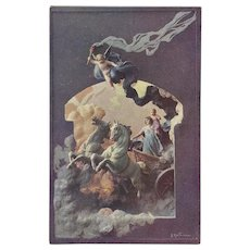 Mastroianni Vintage Postcard of Chariot with Cherubs