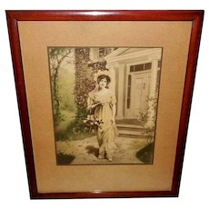 Vintage Photo Print 1912 of Lovely Lady with June Roses