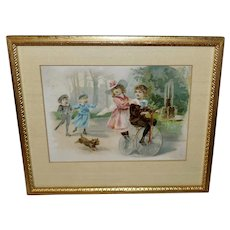 Small Chromolithograph of Children on Old Penny Farthing Bicycle