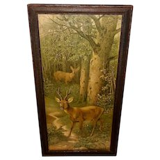 Chromolithograph of Two Deer in Forest by F. Specht