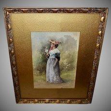 Watercolor of Woman by A.W. Mason