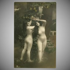 Vintage Real Photo Body Stocking Postcard of Two Women