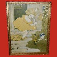 M. L. Kirk 1906 Print of Little Miss Muffet