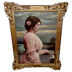 Small Lady in Pink by Water Ornate Frame
