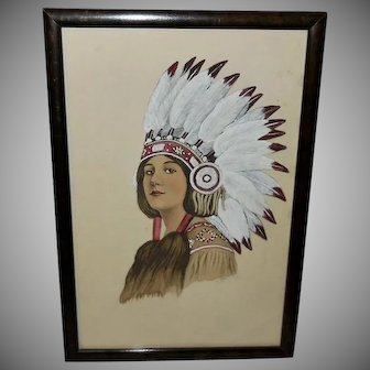 Hand Colored Initialed Indian Maiden in Headdress