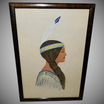Hand Colored and Initialed Indian Maiden with Single Feather