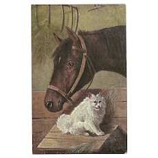 Artist Signed Vintage Postcard of Horse and Dog