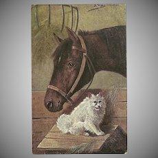 Artist Signed Vintage Postcard of Horse and Dog
