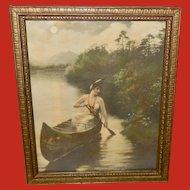 Zula Kenyon Tinted Print of Indian Maiden in Canoe