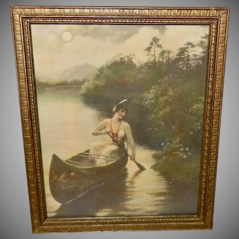 Zula Kenyon Tinted Print of Indian Maiden in Canoe
