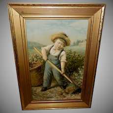 Textured Chromolithograph of Boy in Garden