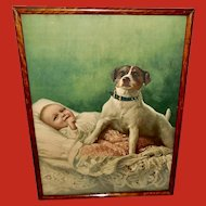 Vintage Print of Dog and Baby The Faithful Guardian