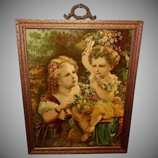Glossy Chromolithograph of Two Young Girls